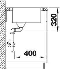 Мойка кухонная Blanco Andano XL 6 S-IF Compact нерж.сталь с зеркальной полировкой (чаша справа) - схема