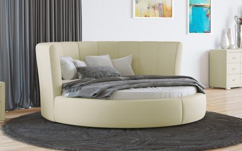 Круглая кровать Luna Экокожа Кремовая