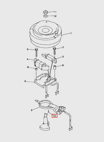 Шпонка коленвала  для лодочного мотора T15, OTH 9,9 SEA-PRO (8-10)