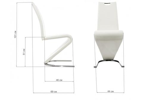 Стул кухонный, обеденный, для гостиной, металлический Barlo белый 44*44*101 Хромированный металл /Белый