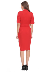 Красное платье на запах с юбкой карандаш