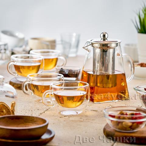 Набор S-22. Чайник квадратный 950 и Чашки 180 мл (4 шт.)