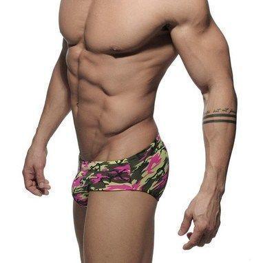 Мужские плавки брифы c Пуш-ап зелено-розовые Addicted Camo Pink Push -Up