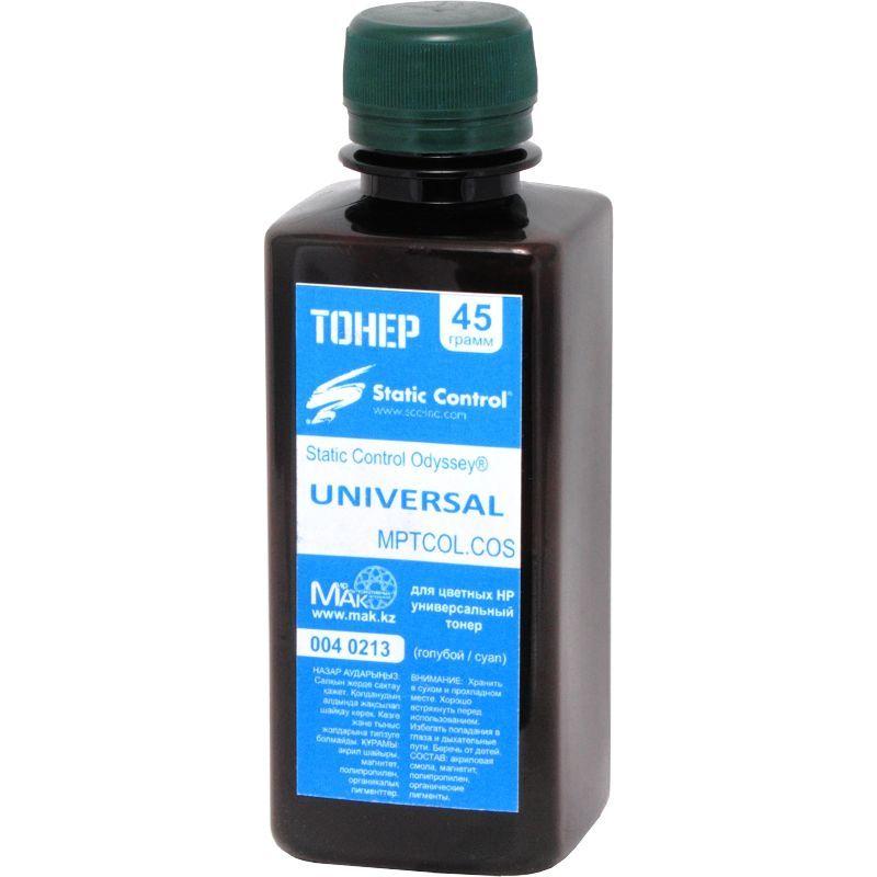 Тонер цветной Static Control© Odyssey® MPTCOL.COS.0045 голубой (cyan), 45г, расфасовано компанией МАК из сырья Static Control MPTCOL.