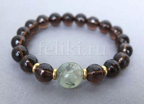 коричневый браслет из дымчатого кварца и пренита_фото