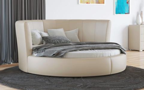 Круглая кровать Luna Экокожа Бежевый перламутр
