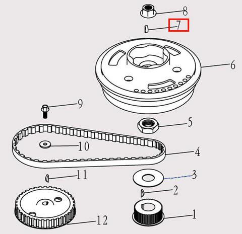 Шпонка шкива коленвала для лодочного мотора F9.8 Sea-PRO (5-7)