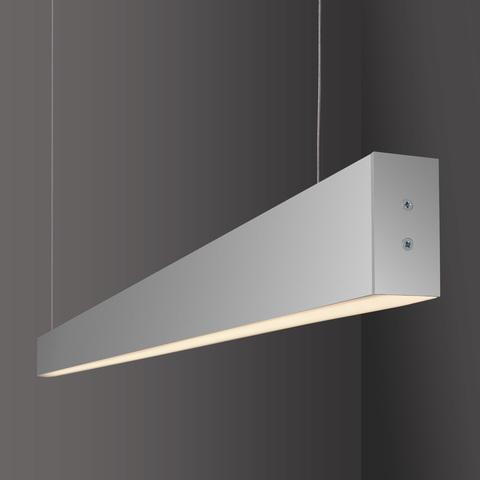 Линейный светодиодный подвесной односторонний светильник 128см 25Вт 3000К матовое серебро LS-01-1-128-3000-MS