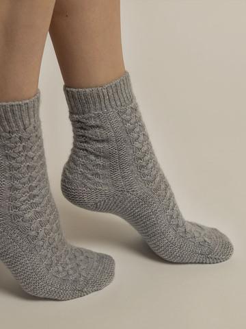 Женские носки серого цвета из 100% кашемира - фото 3