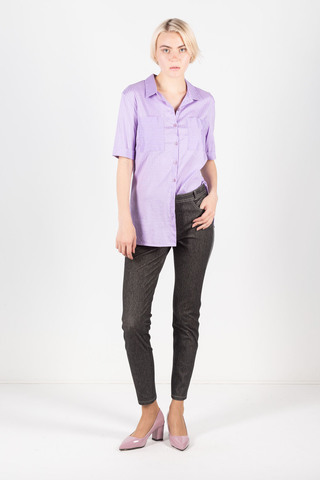 Фото сиреневая блуза в мелкую полоску с рукавом ¾ - Блуза Г665а-303 (1)