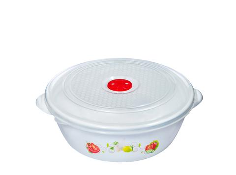 Миска - контейнер для микроволновой печи / СВЧ с крышкой и клапаном 2 литра белая с рисунком 22 см Эльфпласт