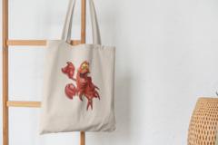 Сумка-шоппер с принтом Ариэль, Себастьян (С русалочкой, мультфильм) бежевая 0010