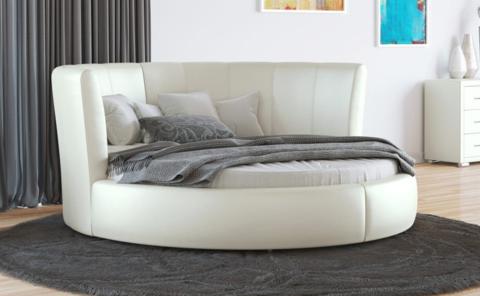 Круглая кровать Luna Экокожа молочный перламутр