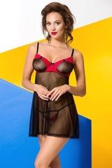 Эротическая прозрачная сорочка Valentine черная с красным