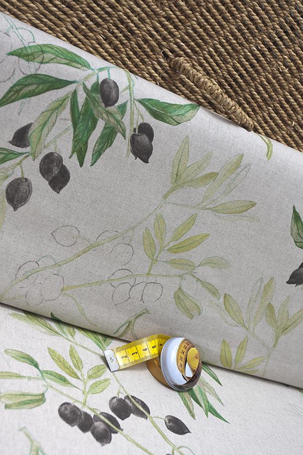 Ткань интерьерная, принт оливки