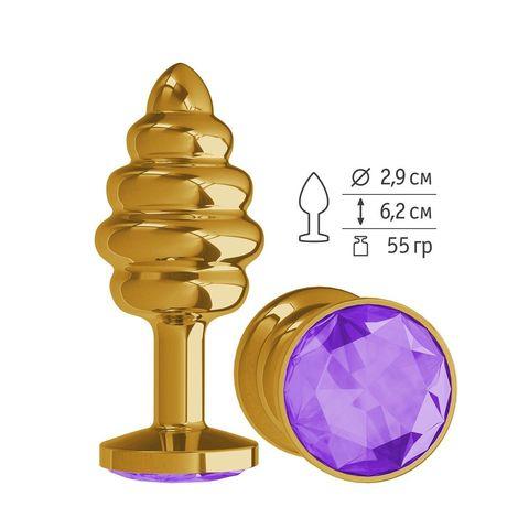 Золотистая пробка с рёбрышками и фиолетовым кристаллом - 7 см.