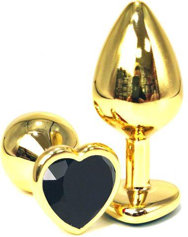 Золотистая анальная пробка с черным кристаллом-сердцем - 7 см.