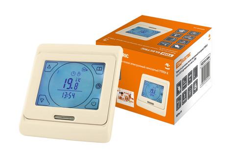 Термостат для теплых полов электронный сенсорный ТТПЭ-2 16А 250В с датчиком 3м сл костьTDM