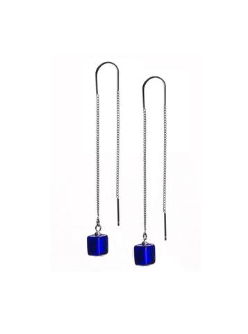Серьги из муранского стекла на цепочке с бусиной Long Cubo Blue 060