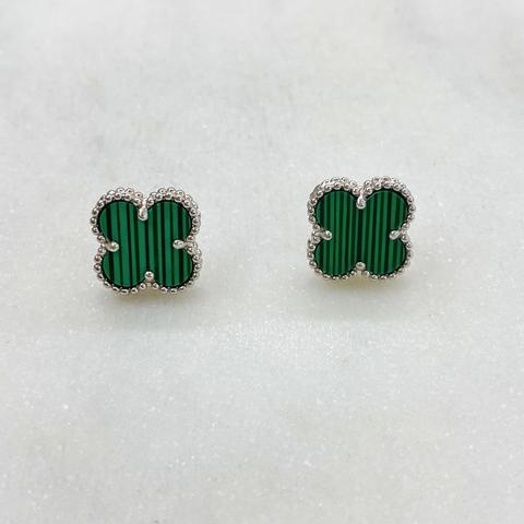 Серьги-пусеты Клевер (зеленый, серебристый)