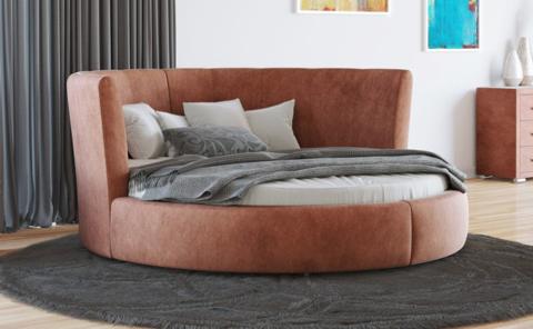 Круглая кровать Luna  Ткань лофти  Рыжий