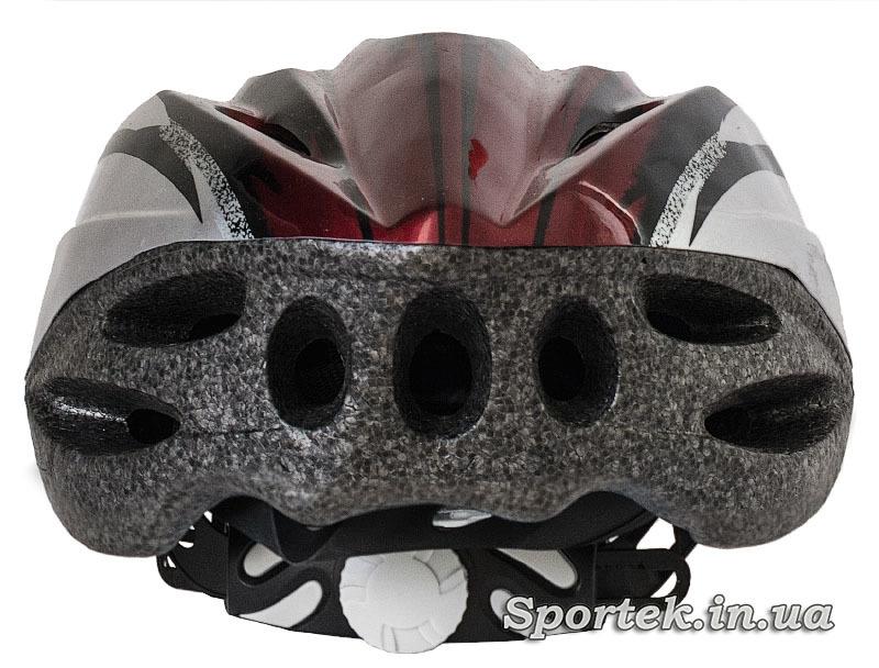 Вид сзади крос-кантрийного велошлема красно-серого цвета