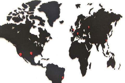 Карта мира Wall Decoration Black 90 x 54 cm
