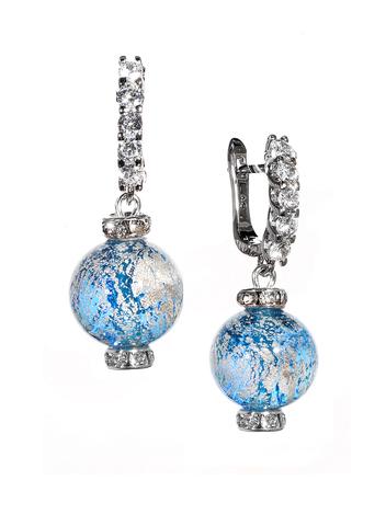 Серьги из муранского стекла со стразами Franchesca Ca'D'oro Medio Aqua 036OB