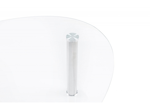 Стол деревянный кухонный, обеденный, для гостиной Журнальный Rinko 55*55*41,5 Хромированный металл /Прозрачный стекло