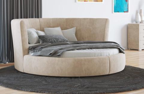 Круглая кровать Luna  Ткань Даблиск Ваниль