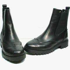 Женские ботинки осень Jina 7113 Leather Black