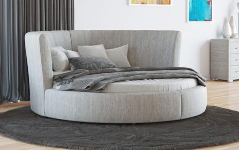 Круглая кровать Luna  Глазго серая рогожка