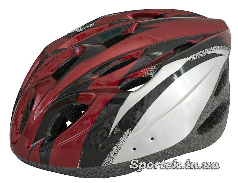 Основной вид крос-кантрийного велошлема красно-серого цвета