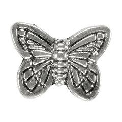 Бусина метал. Бабочка 14 х 11 мм цвет серебро