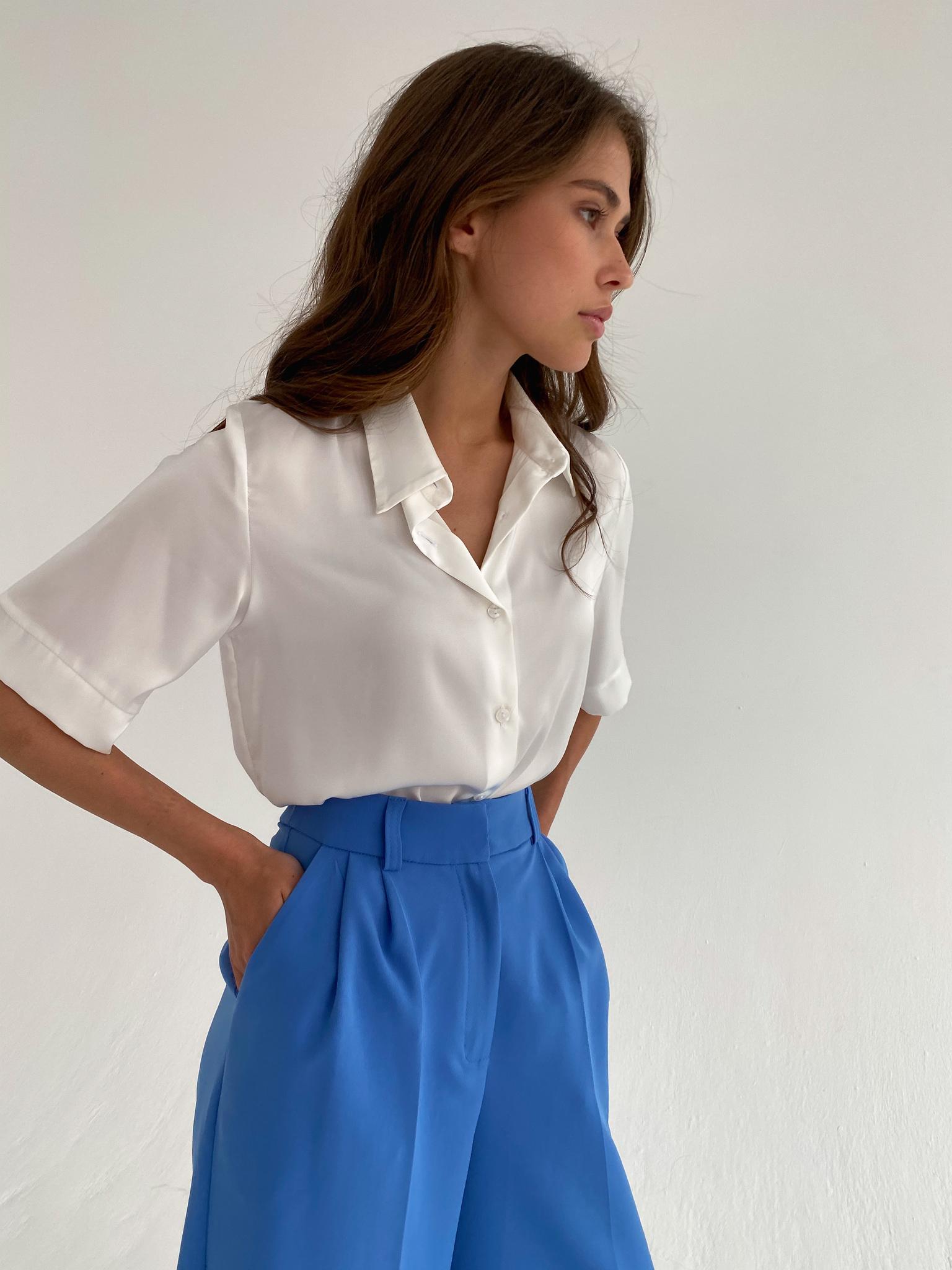 Рубашка шелковистая с коротким рукавом (айвори)