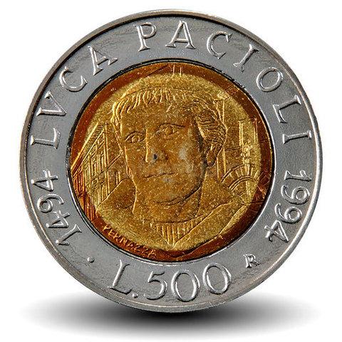 500 лир. 500 лет со дня рождения Луки Пачоли. Италия. 1994 год. XF-AU