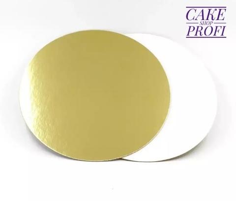 Подложка усиленная 1.5мм ( золото/белая) d.18см