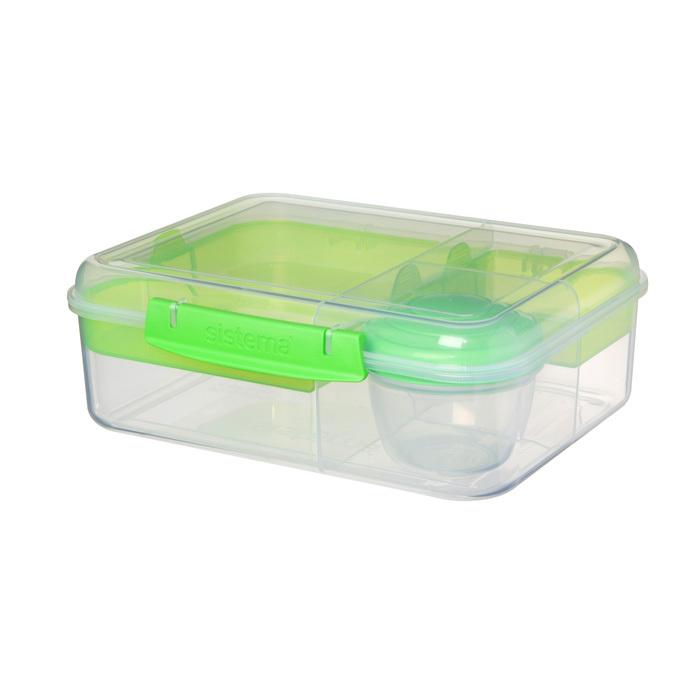 """Ланч-бокс с баночкой Sistema """"Bento TO GO"""", многосекционный, 1,65 л, цвет Зеленый"""