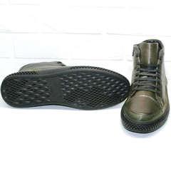 Кожаные мужские ботинки на плоской подошве Luciano Bellini BC2803 TL Khaki.