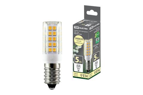 Лампа светодиодная Е14-5 Вт-230 В-3000 К, SMD, 16x54 мм TDM