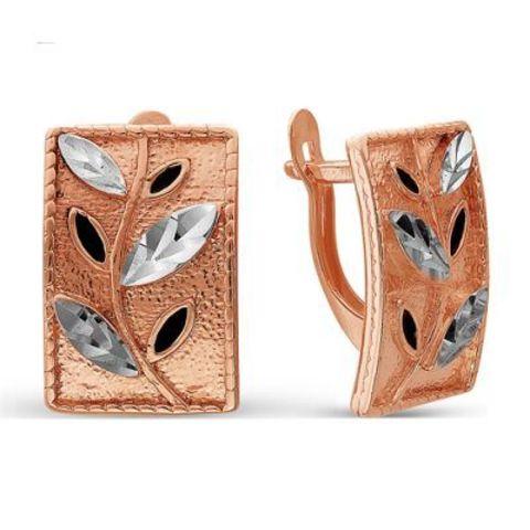 Серьги с алмазной гранью и позолотой