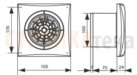 Вентилятор Эра AURA 4C MR D100 с таймером и обратным клапаном