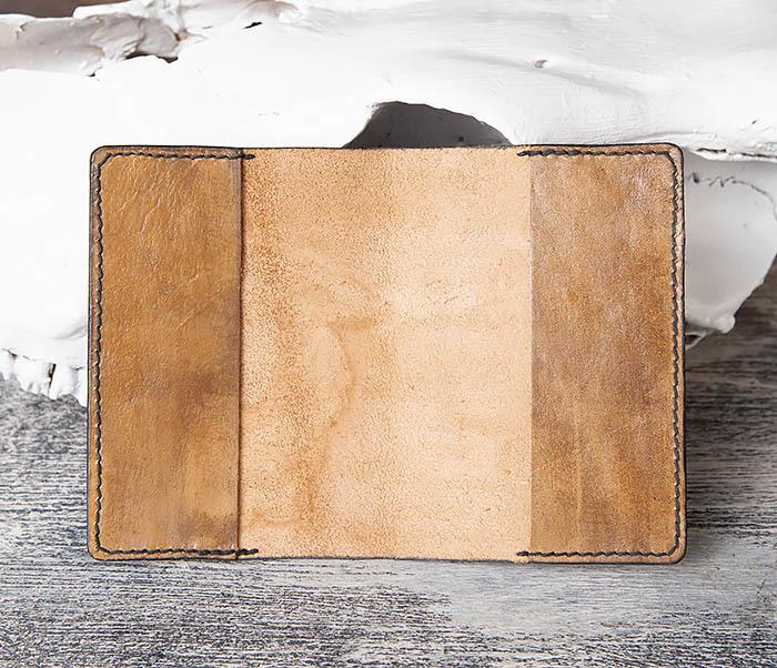 BC149 Кожаная обложка ручной работы для паспорта с тигром фото 04