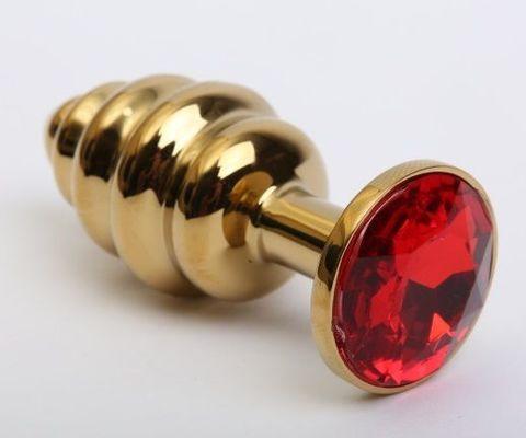 Золотистая рифлёная пробка с красным стразом - 8,2 см.
