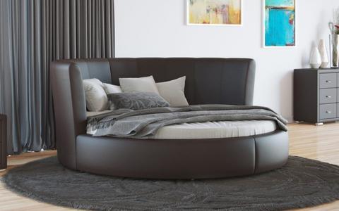 Круглая кровать Luna Экокожа коричневая