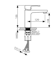 Смеситель KAISER Elite 01011 хром и 01011-2 черный матовый для раковины схема