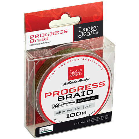Плетеный шнур LUCKY JOHN Progress Braid Green 100 м - 0,153 мм