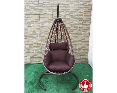 Подвесное кресло Принцесса бежево-коричневое