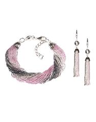 Комплект украшений из бисера серо-розовый (серьги из бисера, бисерный браслет)