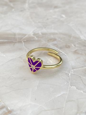 Кольцо из позолоченного серебра с фиолетовым сердечком